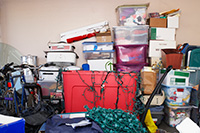 A garage cluttered with items that should go into storage